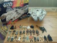 Star wars figures and millennium falcon