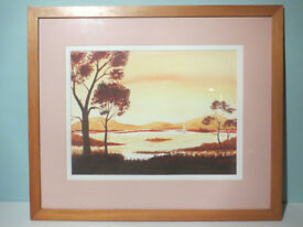 Large Artist Signed Framed Vintage Watercolour Painting Landscape Sunrise / Sunset Picture Art Vtg