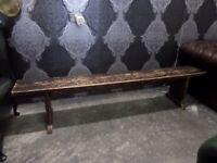 Fantastic Rustic Vintage Pitch Pine 7' Foot Bench - Uk Delivery