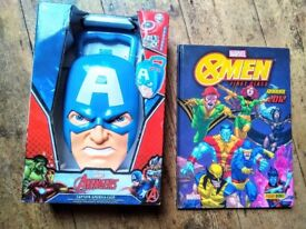 Superhero toys and book