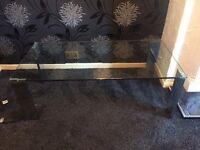 Glass & chrome coffee table/housing units