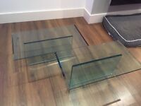 Designer glass coffee table by Tonelli