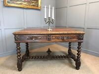 Antique Victorian Oak Table Gothic Jacobean Style With Drawers