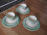 Crown Ducal pottery AGR trios,three trios,lovely sets