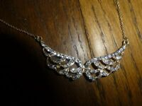 Brand new Accessorize Angel wing design necklace gold & diamante look