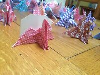 70 colourful origami crane place holders - perfect for weddings and events