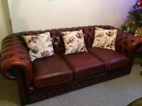 Beautiful Rich Oxblood Leather 3 seater Chesterfield sofa
