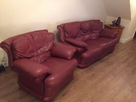 leather sofa and armchair very good condition