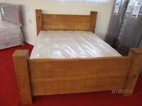 Handmade Reclaimed Pine King Size Bed with New Edinburgh Mattress.