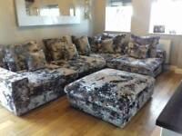 Immaculate Huge Silver crushed velvet corner modular sofa