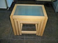 Nest of Three Tables in Light Wood with Smoked Glass Tops