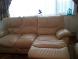 2 and 3 seater leather reclining sofa