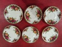 Royal Albert Country Roses Coffee Cups & Saucers x 6