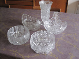 Collection of heavy cut glass