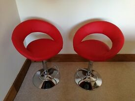 2 x red leather adjustable bar stools