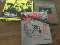 ACDC, IRON MAIDEN, NIRVANA Hard back books