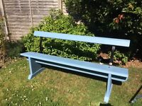 Pretty blue wooden garden bench