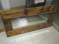 Rustic Dark Wood Rectangular Mirror