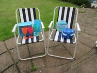 Camping/Picnic folding deckchairs, plates & cutlery, wines glasses, concertina & cooler bag