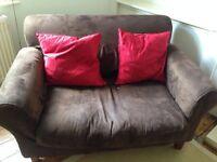 Two seater brown suede Habitat sofa