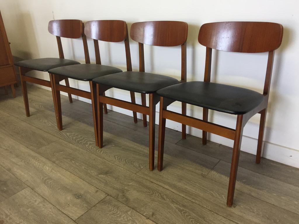 Retro mid century teak afromosia 4 dining chairs black vinyl