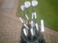 Left handed clubs set complete with bag.