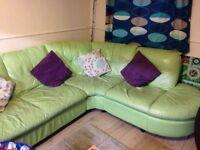 Green leather corner sofa