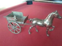 Brass Horse and Cart Ornament