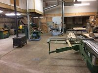 Bench space in furniture making workshop