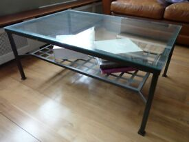 Glass and black metal coffee/lounge table