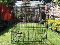 LARGE DOUBLE DOOR DOG CRATE wHICH FOLDS FLAT, WITH REMOVABLE TRAY