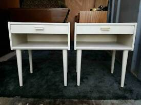 Lovely light coloured retro bedside table cabinets