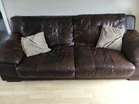 Brown raw hide leather sofa