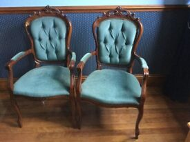 Two solid antique style chairs. Excellent condition.