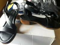 Size 5 ladies ankle strap sandals in black, from Next