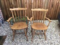 2 Wooden Dining Armchairs - Vintage. Both or Single