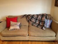 Comfortable DFS sofa, light brown, good condition, 2.1 m wide