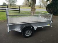 Trailer 7x4 galvanised with full mesh