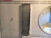 Contemporary polished chrome and frosted glass bathroom cabinet