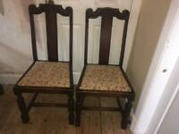 Pair of high back dining room chairs