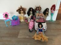 Barbie princess dolls, camper van, dressing table and motor scooter for sale. Ideal Christmas gift