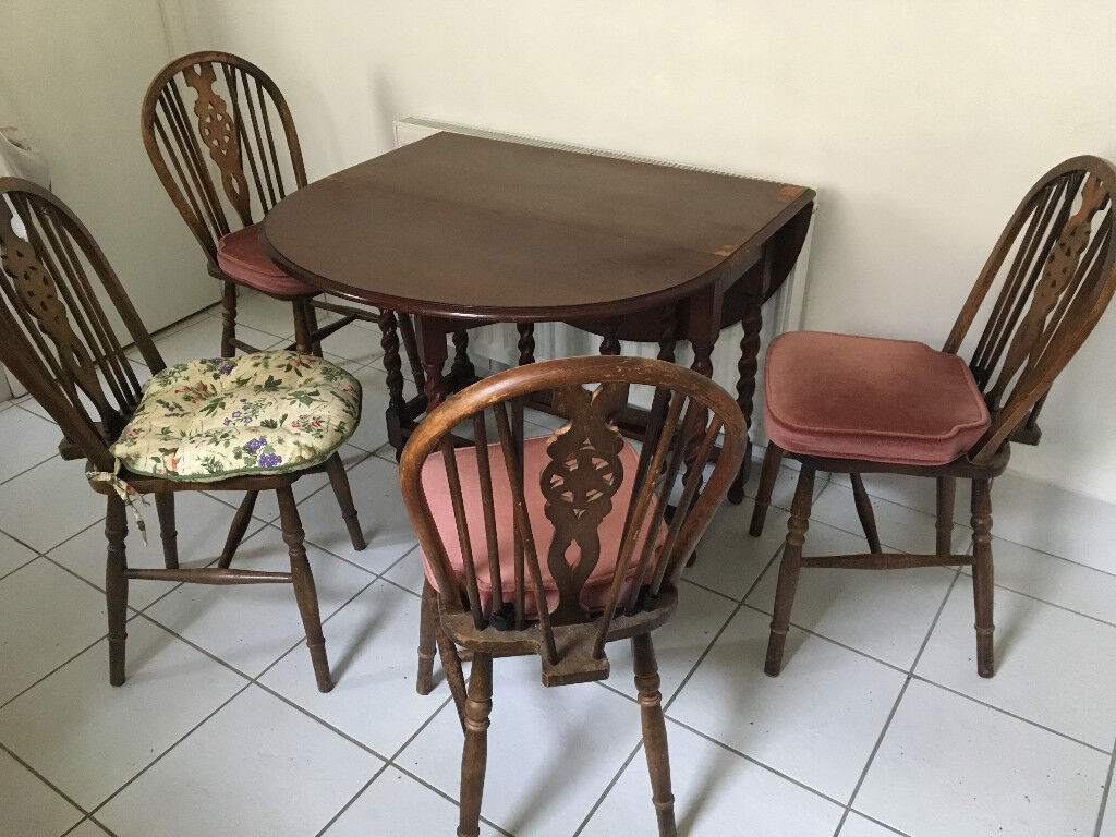Vintage Second Hand Kitchen Table And 4 Chairs In