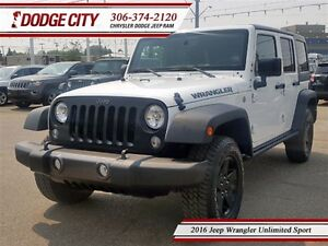 2016 Jeep WRANGLER UNLIMITED Sport   4x4   PST PAID