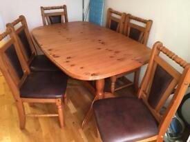 Pine table (Steens) and six pine chairs