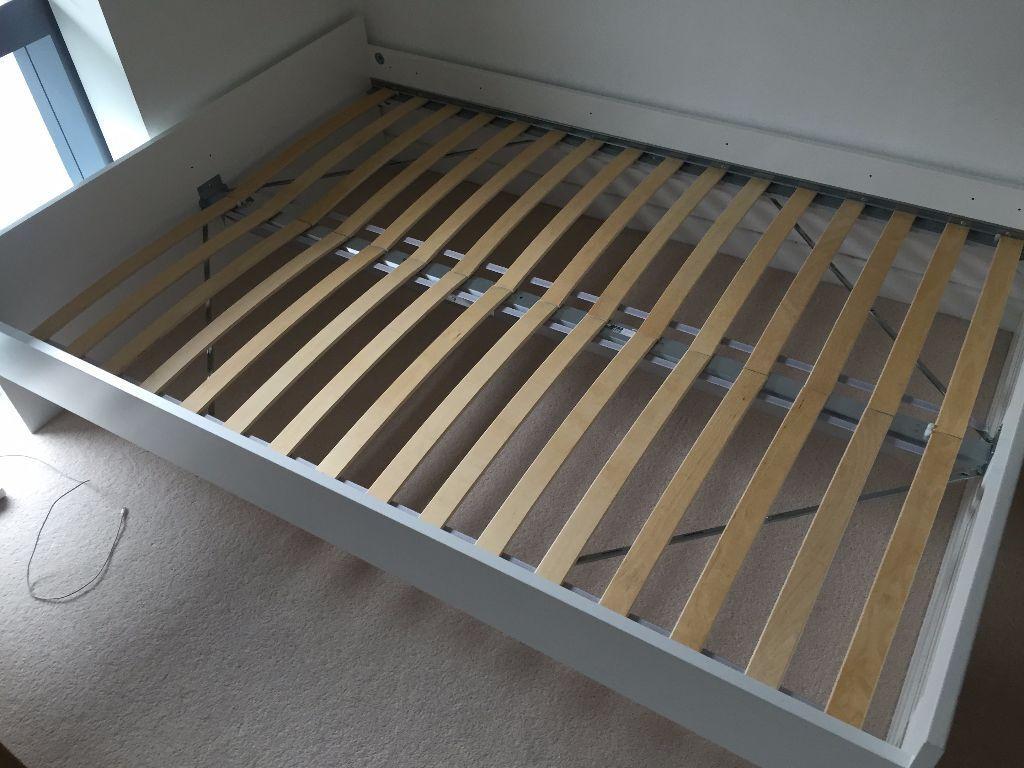 IKEA BRIMNES White Double Bed Frame + Lönset Slats