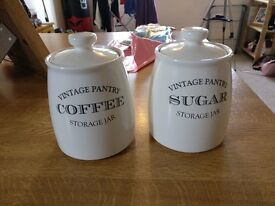 Coffee and sugar jars vintage pantry white