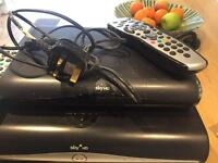 Sky + hd box and sky hd box with remote controls
