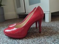 RED LEATHER HEELS ONLY ONCE WORN 38 (EU) / 5 (UK)