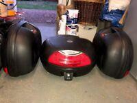 Kappa Hard Luggage System, Built in Brake Light & Backrest on Topbox. Mono Key Inc. Plate. VGC