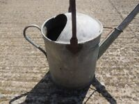 GALVANIZED WATERING CAN WITH WROUGHT IRON HANDLE